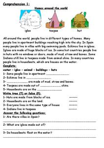 Homes Around the World Worksheet