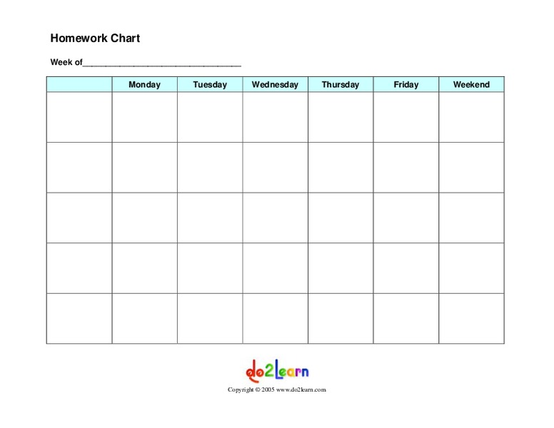 Homework Chart Printables & Template