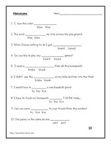 Homonyms Worksheet