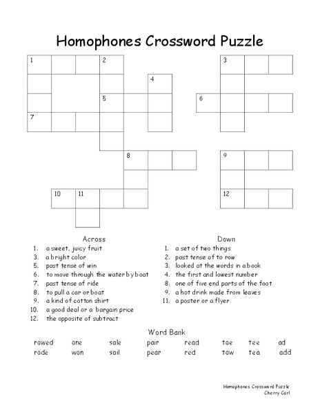 Homophone Crossword Puzzle Worksheet for 2nd - 3rd Grade ...