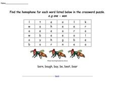 Homophone Crossword Puzzle Worksheet