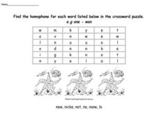 Homophone Crossword Puzzle- Australian Worksheet