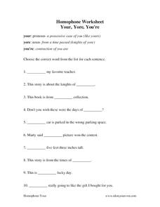 Homophone Worksheet Worksheet