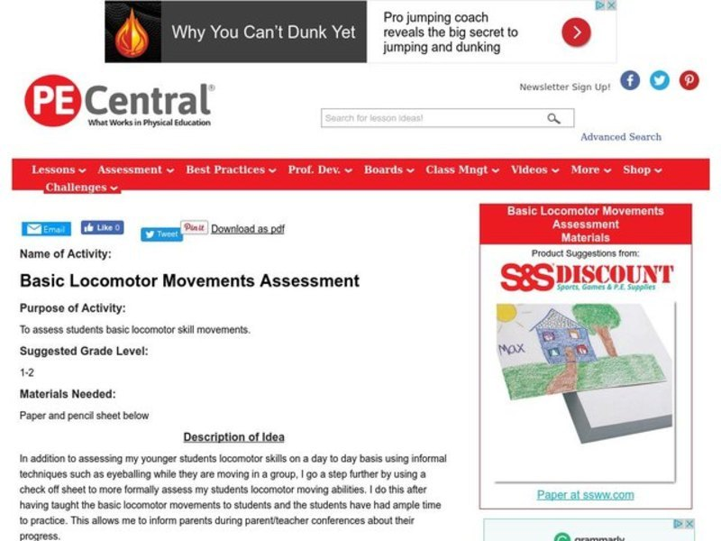 Basic Locomotor Movements Assessment Lesson Plan