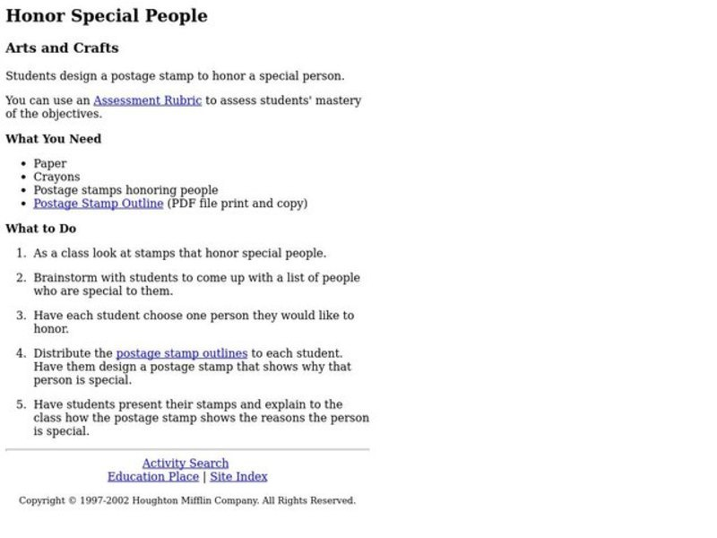 Honor Special People Lesson Plan