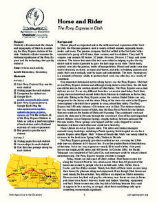 Horse and Rider: The Pony Express in Utah Lesson Plan