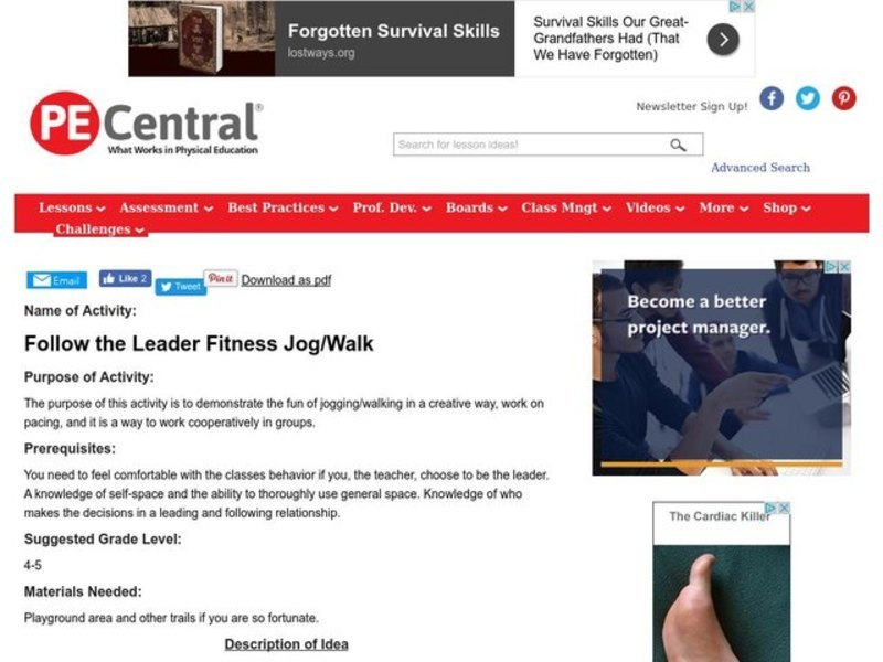 Follow the Leader Fitness Jog/Walk Lesson Plan