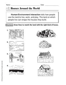 Houses Around the World Worksheet for 2nd Grade | Lesson Planet