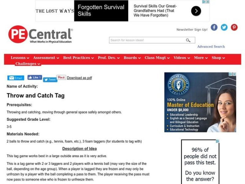 Throw and Catch Tag Lesson Plan