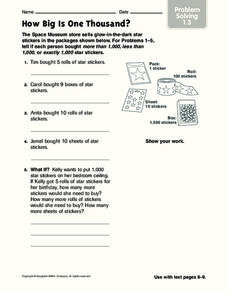 How Big Is One Thousand? Worksheet