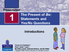 The Present of Be: Statements and Yes/No Questions Presentation
