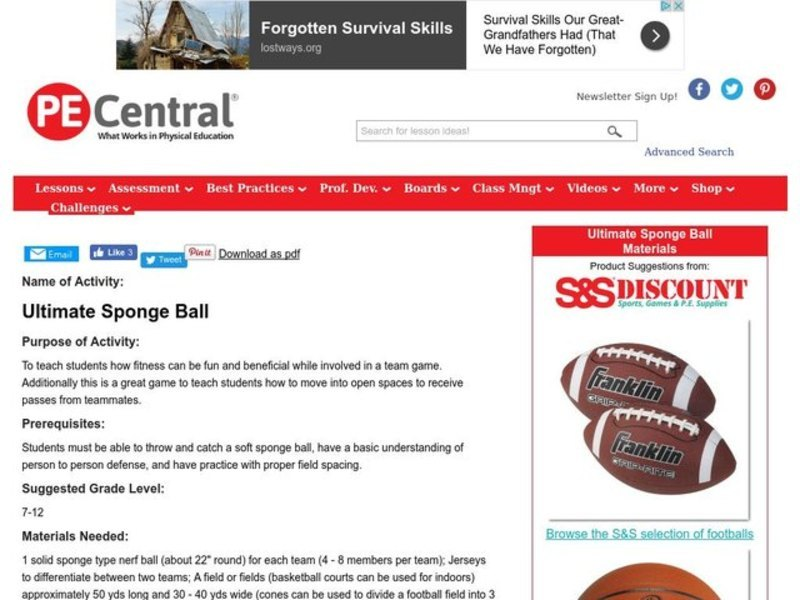 Ultimate Sponge Ball Lesson Plan