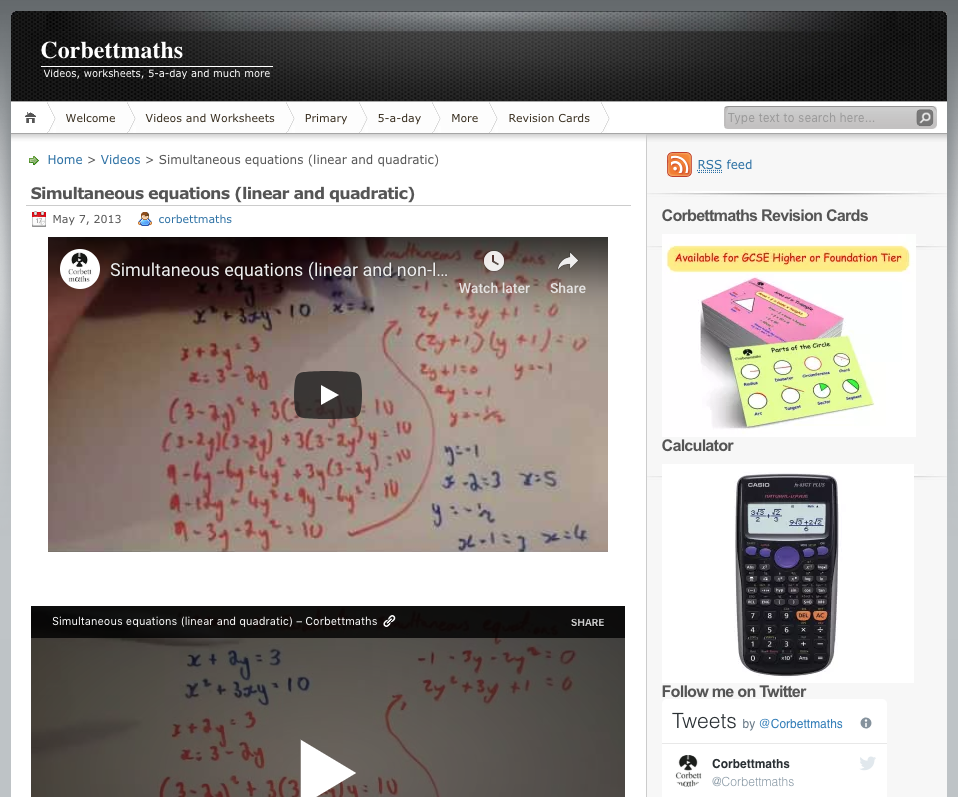 Simultaneous equations (Linear and Quadratic) Video