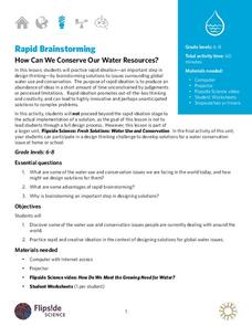 Rapid Brainstorming: How Can We Conserve Our Water Resources? Lesson Plan
