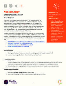 Nuclear Energy: What's Your Reaction? Lesson Plan