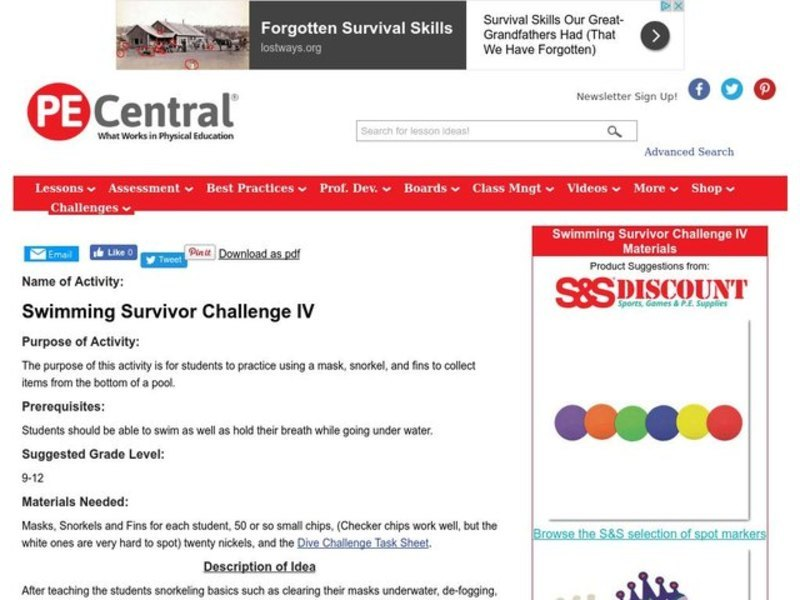 Swimming Survivor Challenge IV Lesson Plan