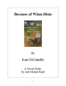 Because of Winn-Dixie Novel Study Study Guide