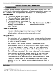 Subject-Verb Agreement/Commonly Confused Words Lesson Plan