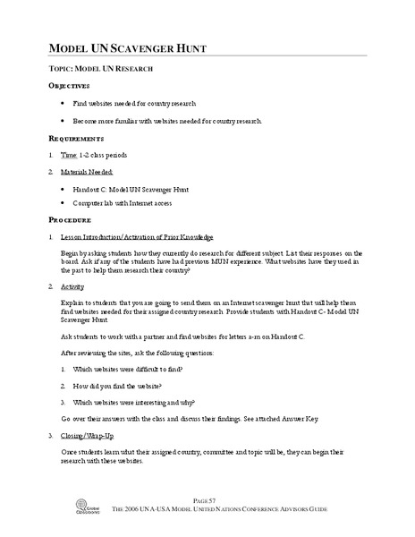 Model UN Scavenger Hunt Activities Project For 9th 12th