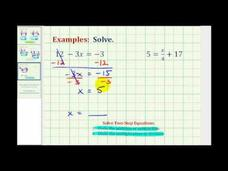 Solving Two-Step Equations Using Integers (Example 2) Video
