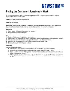 Putting the Consumer's Questions to Work Lesson Plan