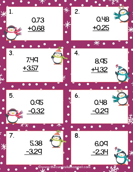 Penguin Decimal Computation Scoot Printables & Template