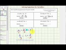 Solve a Literal Equation for a Variable (Example 2) Video