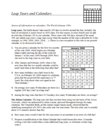 Leap Years and Calendars Assessment