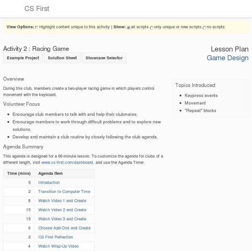 Game Design: Racing Game Lesson Plan