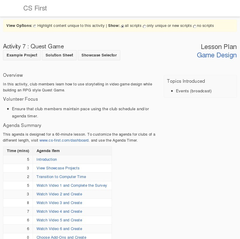 Game Design: Quest Game Lesson Plan