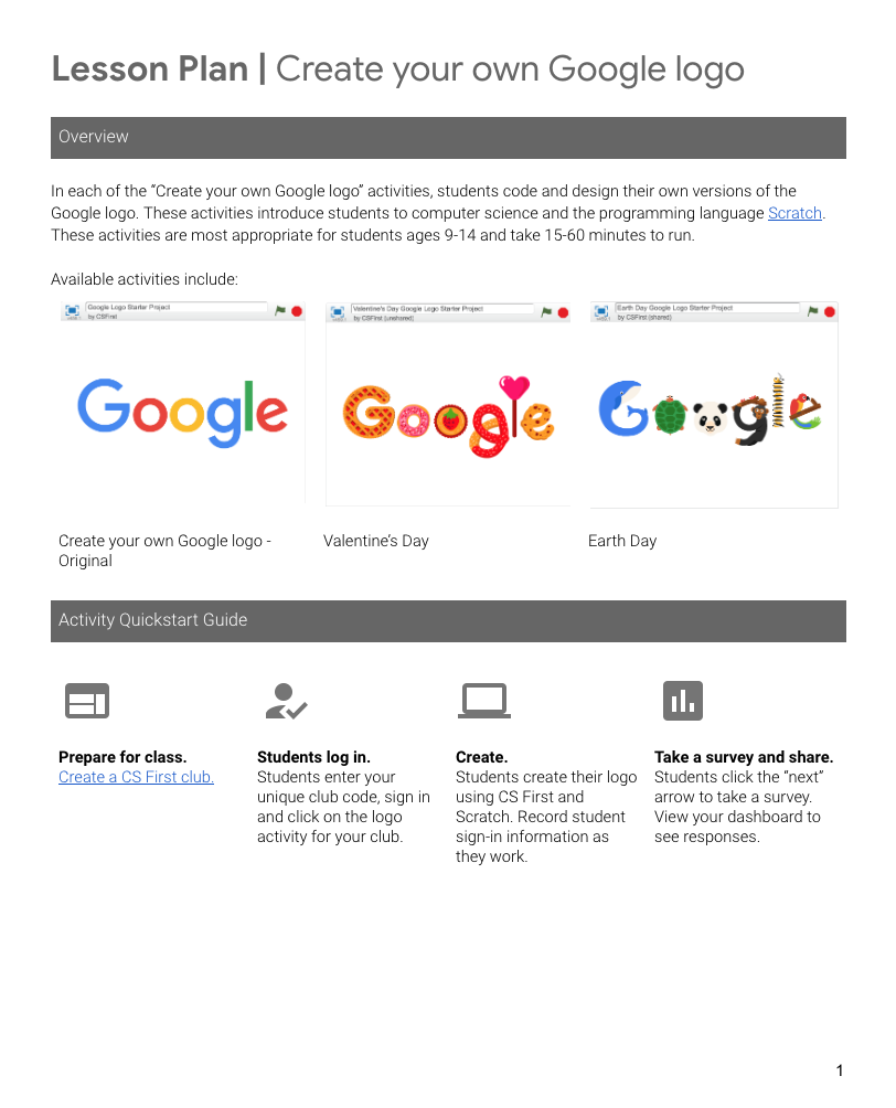 Create Your Own Google Logo Lesson Plan