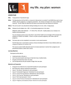My Life. My Plan: Women Lesson Plan