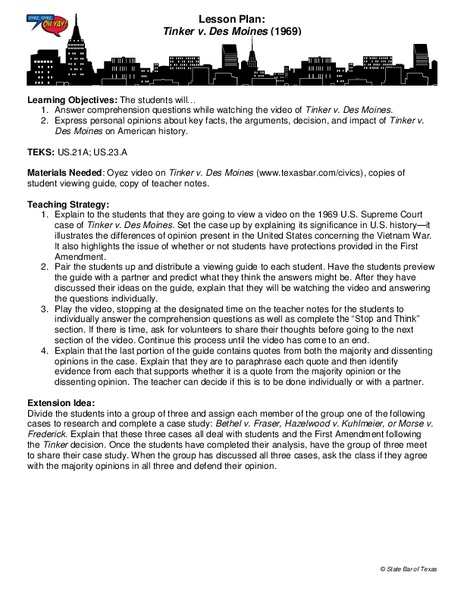 Tinker v  Des Moines Lesson Plan for 9th - 12th Grade