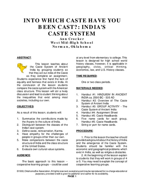 Into Which Caste Have You Been Cast?: India's Caste System Lesson Plan