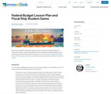 Federal Budget Lesson Plan and Fiscal Ship Student Game Lesson Plan