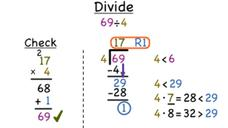 How Do You Divide a Two-Digit Number by a One-Digit Number With a Remainder? Video