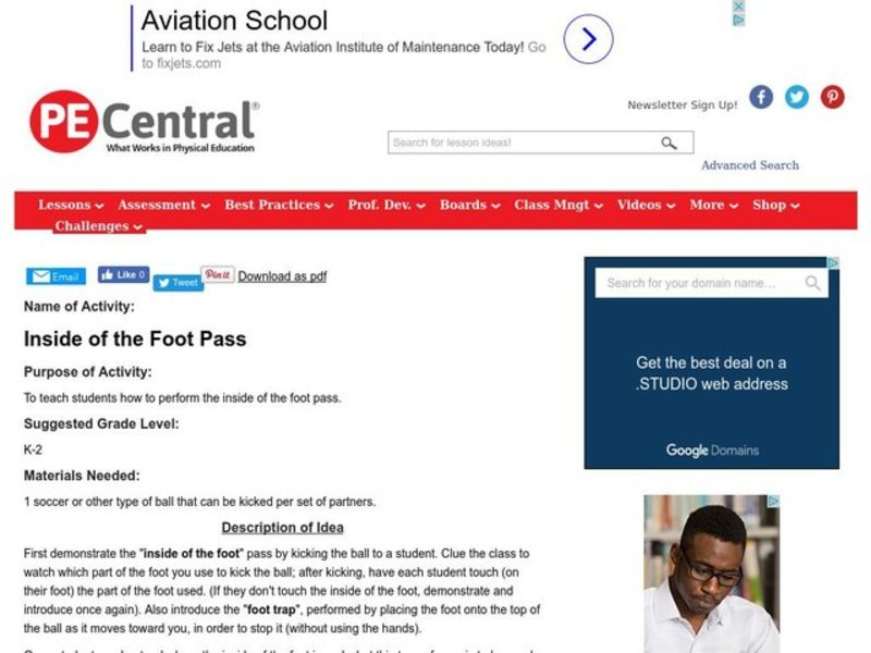 Inside of the Foot Pass Lesson Plan