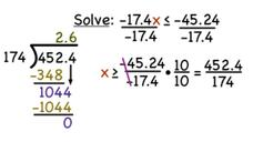 How Do You Solve a Decimal Inequality Using Division with Negative Numbers? Video