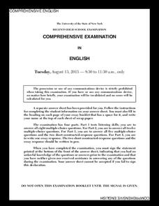 Comprehensive English Examination: August 2013 Assessment