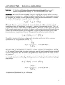 Chemical Equilibrium Lab Resource for 9th - 12th Grade