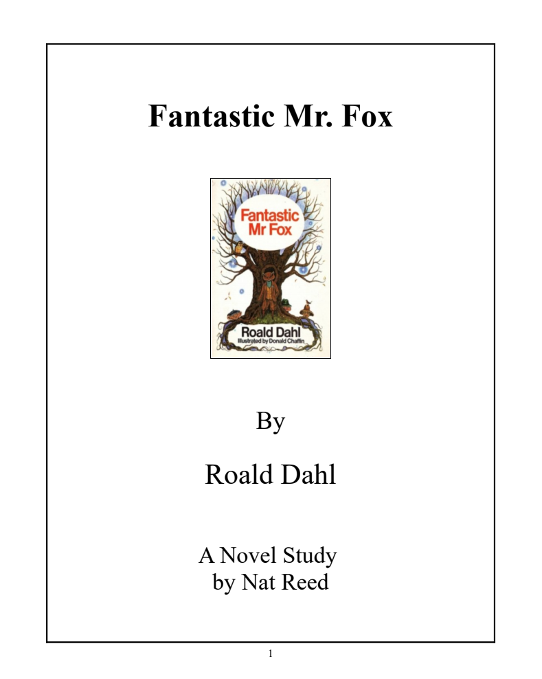 Fantastic Mr. Fox: Novel Study Study Guide