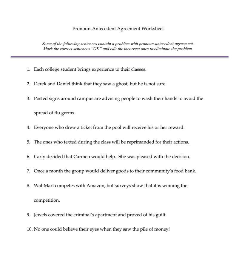 Pronoun Antecedent Agreement Worksheet Worksheet for 6th ...