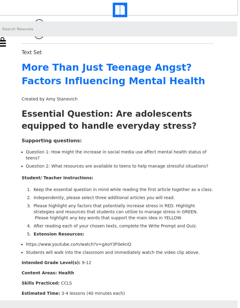 More Than Just Teenage Angst? Factors Influencing Mental Health Lesson Plan
