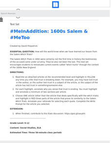 #MeInAddition: 1600s Salem and #MeToo Lesson Plan