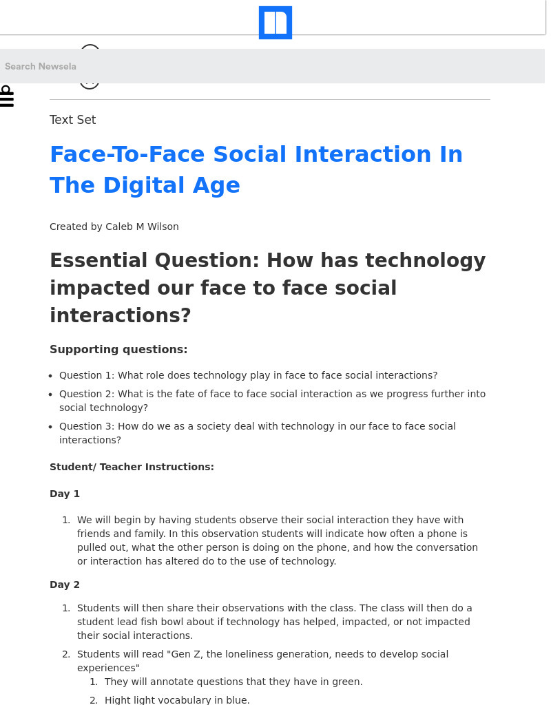 Face-To-Face Social Interaction In The Digital Age Lesson Plan