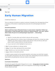 Early Human Migration Lesson Plan