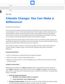 Climate Change: You Can Make a Difference! Lesson Plan