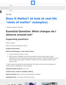 "Does It Matter? (A Look at Real-Life ""State of Matter"" Examples) Lesson Plan"