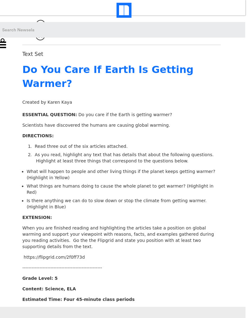 Do You Care If Earth Is Getting Warmer? Lesson Plan