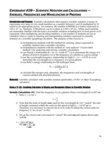 Scientific Notation and Calculations – Energies, Frequencies, and Wavelengths of Photons Lab Resource